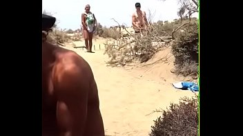 crowded beach public strangers exhibitionist teasing Stuffed with pantyhose