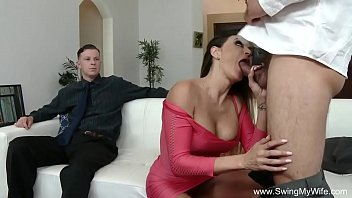 stranger for wife spreads Hubby filmimg while he cum inside